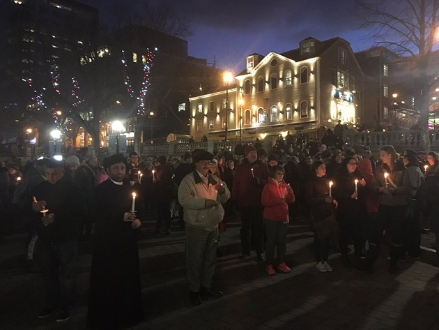 A vigil in Grand Parade for victims of the Quebec Mosque shooting held back in January. - PHOTO BY REMO ZACCAGNA