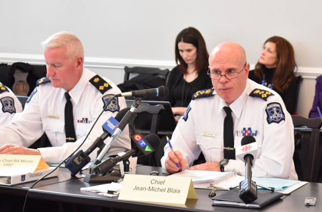 Police chief Jean-Michel Blais (right) and deputy chief Bill Moore address the board of police commissioners last month. - THE COAST