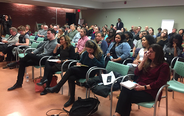 Attendees at Thursday night's community meeting. - MAGGIE RAHR