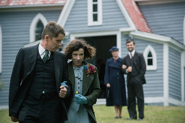 Sally Hawkins portrays Maud Lewis, while Ethan Hawke plays her (terrible, abusive) husband. - VIA IMDB