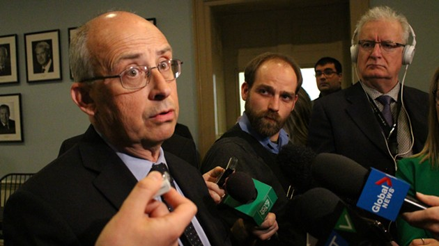 Gary Burrill, leader of the provincial NDP, speaking about the new budget. - THE COAST