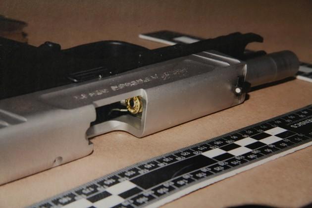 The 9mm handgun entered into evidence. - KIERAN LEAVITT