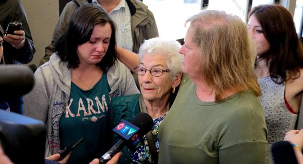 Linda Boutilier, mother, and Elizabeth Samson, grandmother, speak to media after the guilty verdict. - KIERAN LEAVITT