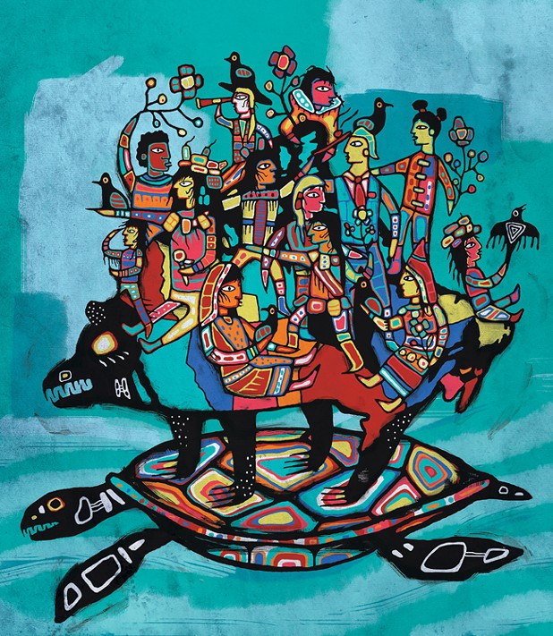"""Wasauksing First Nation member Joshua Pawis-Steckley wanted this cover piece to focus on the positive, future aspect of Rebecca Thomas' poem, wherein we as Canadians have the ability to guide the blind Creature Canada to where we so choose. """"I saw that the creature in the story holds all the negative emotions of our past—the anger, the guilt, the pain and suffering—all within itself. The negative emotions on which our country is built can be tamed and overcome. Rebecca's story doesn't dwell on the past; it gives the reader the choice to be a part of the future and opens them up to the idea that we all have the ability to make a difference and be a part of the next chapter."""" - JOSHUA PAWIS-STECKLEY"""