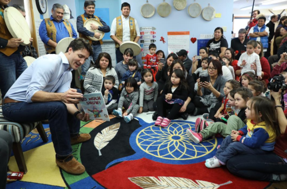 Prime minister Justin Trudeau speaks to children at the N'dilo Aboriginal Head Start program in the Northwest Territories. - VIA INSTAGRAM