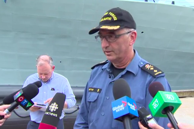 Rear admiral John Newton speaking to reporters on Tuesday at the Halifax Dockyards. - SCREENSHOT FROM GLOBAL NEWS