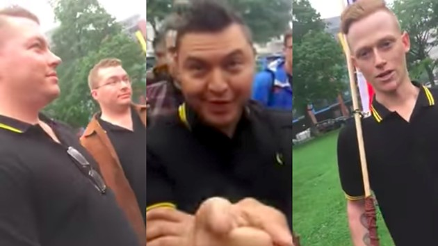 Screencaps from video recordings of the Proud Boys interrupting last weekend's ceremony. - VIA YOUTUBE