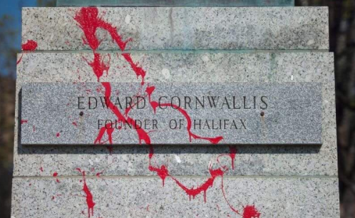 Red paint thrown on the base of the Edward Cornwallis statue in 2016. - VIA INSTAGRAM