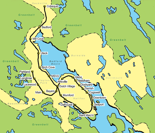 The LRA's concept for a light rail network. This line could be expanded they say to Dartmouth, Bedford South and Spryfield.