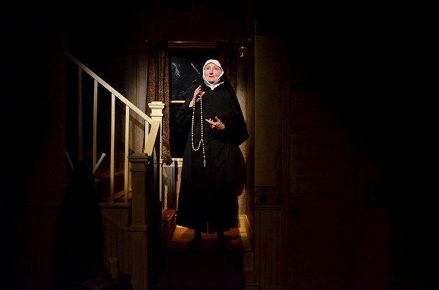 The Mystery Play, Written by Josh MacDonald, Starring Mary-Colin Chisholm as Sister Vivian Salter,  Directed by Natasha MacLellan, Costumes by Andrea Richie, Set Design by Sean Mulcahy, Lighting design by Leigh Ann Vardy - CLARE WAQUE