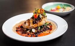 Grilled NS swordfish, caramelized cauliflower puree, garden tomato and zucchini caponata, warm chorizo vin and black currant. - JESSICA EMIN
