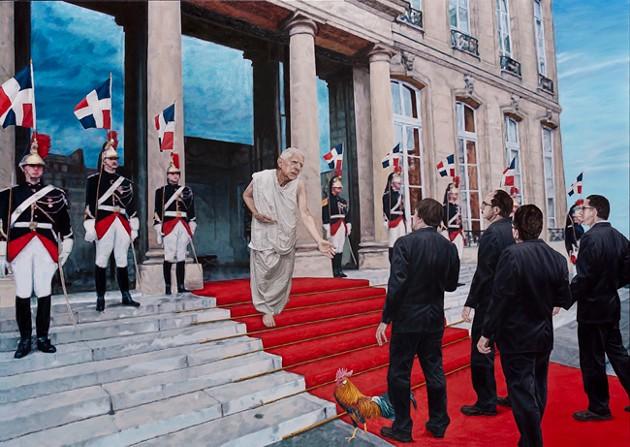 """Charles de Gaulle accueil la délégation acadienne, janvier 1968"" (oil on wood). - SUBMITTED"