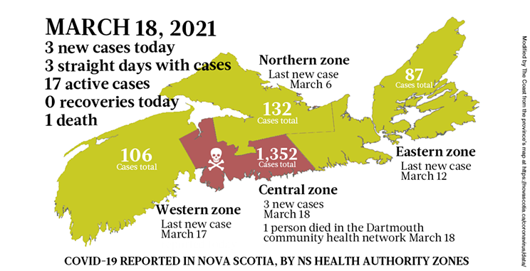 Map of COVID-19 cases reported in Nova Scotia as of March 18, 2021. Legend here. THE COAST