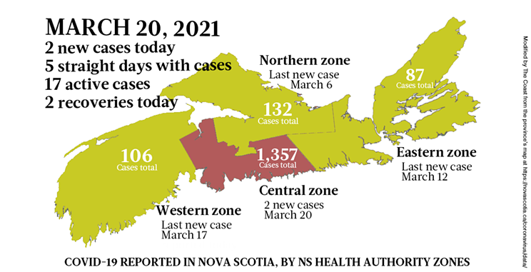Map of COVID-19 cases reported in Nova Scotia as of March 20, 2021. Legend here. THE COAST