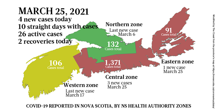 Map of COVID-19 cases reported in Nova Scotia as of March 25, 2021. Legend here. THE COAST