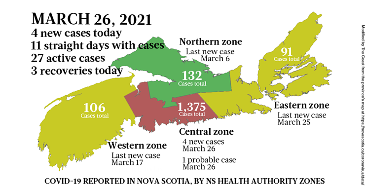 Map of COVID-19 cases reported in Nova Scotia as of March 26, 2021. Legend here. THE COAST