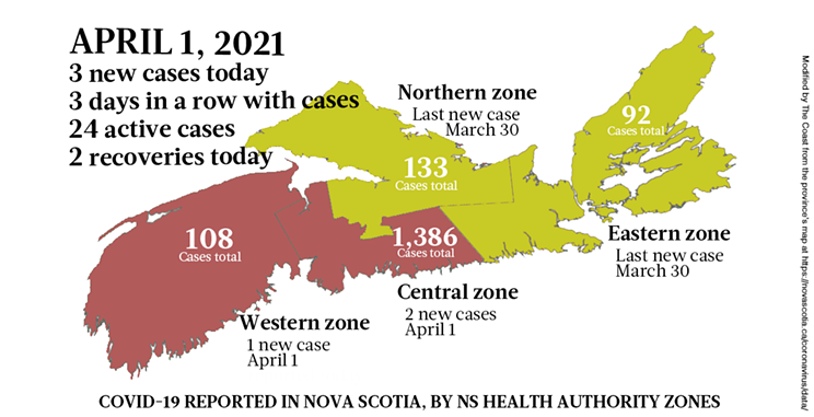 Map of COVID-19 cases reported in Nova Scotia as of April 1, 2021. Legend here. THE COAST