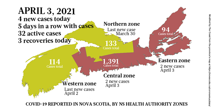 Map of COVID-19 cases reported in Nova Scotia as of April 3, 2021. Legend here. THE COAST