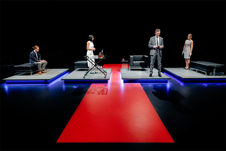 Post-Democracy's staging lets the cast physically distance and it drives the play's mood. LEIF NORMAN