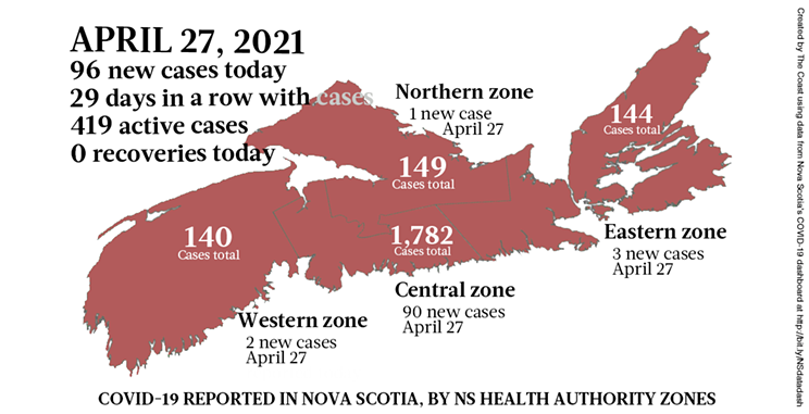Map of COVID-19 cases reported in Nova Scotia as of April 27, 2021. Legend here. THE COAST