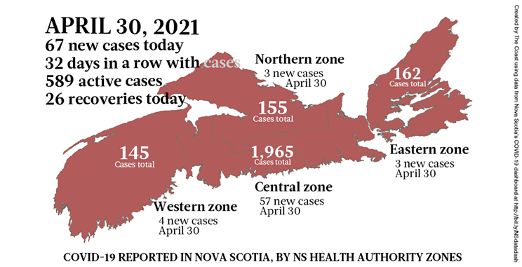 Map of COVID-19 cases reported in Nova Scotia as of April 30, 2021. Legend here. THE COAST