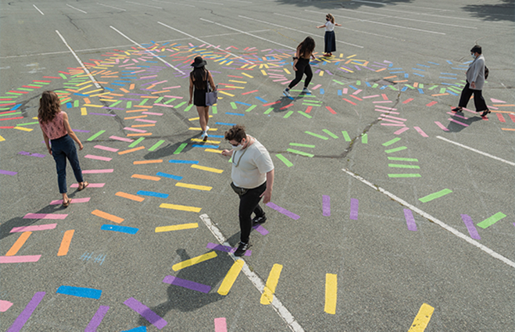 Sheppard created a COVID piece to bring people together—with distance!—in a parking lot. MICHAEL LOVE
