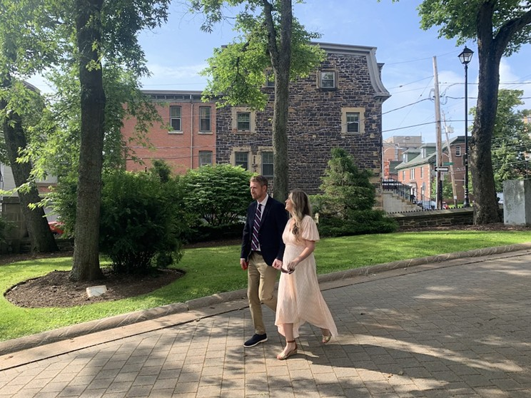 Premier Iain Rankin and his wife Mary Chisholm on the way to Government House Saturday morning to make the election call official.