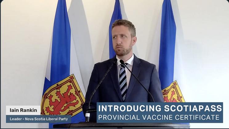 Liberal leader Iain Rankin promises a vaccine passport for Nova Scotians.