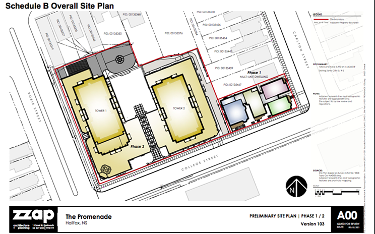 Preliminary site plan of The Promenade, a 28-storey and 29-storey building at the block of Carlton, College and Robie Streets, from the HRM development report.