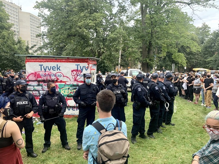 Police ended up using pepper spray at the shelter siege evictions on August 18.