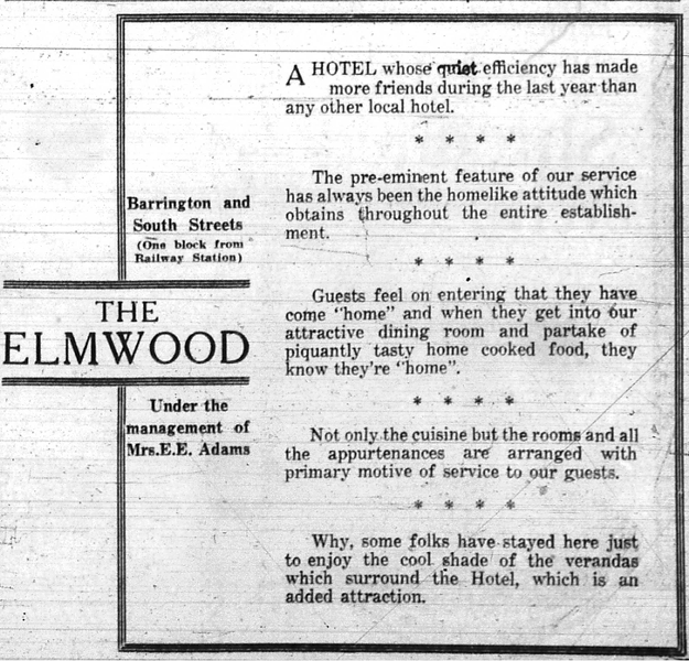 A newspaper ad for the former Elmwood Hotel. - NOVA SCOTIA ARCHIVES