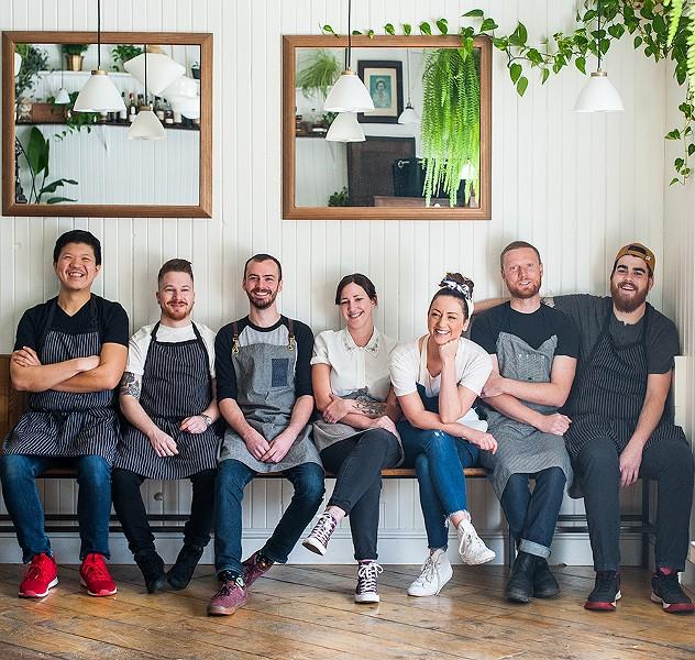 Kismet's back of house (L-R): Lance Hu, Shayne Carnell, Jarrett Gorveatt, Ellen Baldwin, Annie Brace-Lavoie, Richard McNeil, Alex Scanlan. - JESSICA EMIN