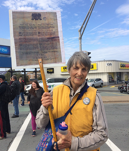 Frances Van der Wel arrived in Halifax with a friend Sunday evening, travelling from Wolfville to participate in the strike. Her friend was one of the protesters placed under arrest. - STEPHEN WENTZELL