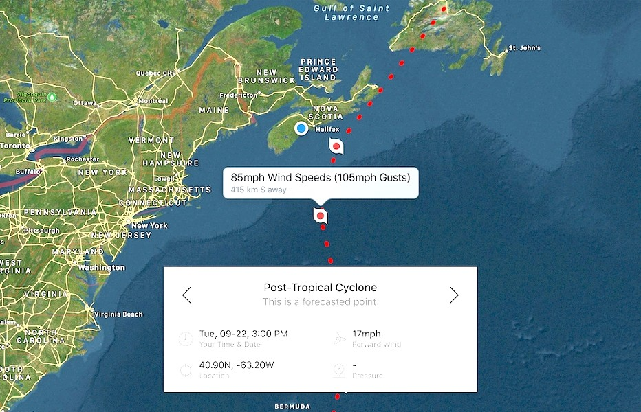 Track of Hurricane Teddy as of Sunday, September 20 at 8:15am. The storm, which was south of Bermuda and degraded from Category 3 to Category 2 around when this forecast was captured, is projected to be further downgraded to a post-tropical cyclone by the time it approaches Nova Scotia Tuesday afternoon. - HURRICANES PRO APP