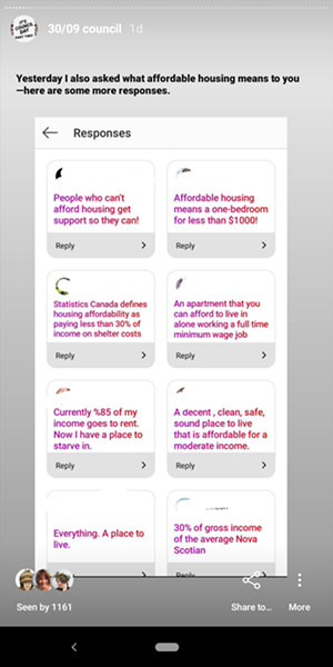 """When asked """"what does affordable housing mean to you"""" The Coast followers answered like this. - THE COAST INSTAGRAM - CAORA MCKENNA"""