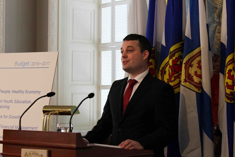 Randy Delorey delivers the Provincial Budget speech at Province House. - ASHLEY CORBETT