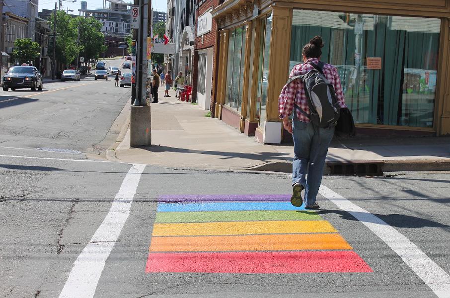 One of the rainbow crosswalks in Halifax that were painted last week in celebration of Pride. - ASHLEY CORBETT
