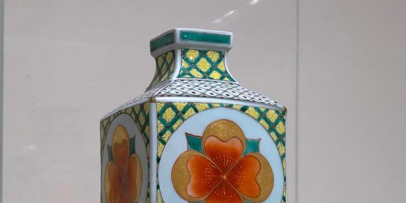 Vase with Flower Medallion, Porcelain, Press-mould with original icon, Porcelain, 24k Roman Gold, 22k German gold, Chinese over-glaze enamels (gucai)