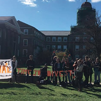 Divest Dal outside the university on Tuesday.