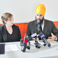 Dartmouth North MLA Susan Leblanc, centre left, talks housing along with Jagmeet Singh (centre right) earlier this week in Halifax.