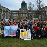 Alex Ayton is a Divest Dal committee member, pictured here with other Dalhousie students protesting on the quad.