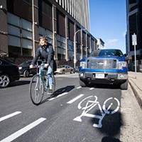 The unprotected, painted bike line on Hollis Street.