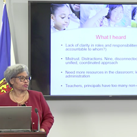 Dr. Avis Glaze details the findings of her report to media at Tuesday's press conference.