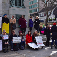 Members of the public gathered to protest judge Lenehan's acquittal of Bassam Al-Rawi last year at Grand Parade.