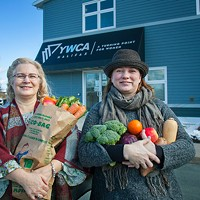 Spyfield market coordinator Twyla Nichols and Mobile Food Market client and volunteer, Kim O'Connell