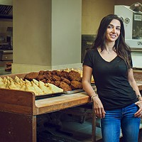 Fran Shirazi has been selling over-sized, golden samosas for 14 years.