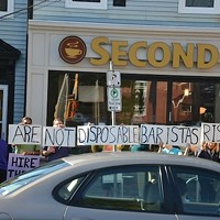 Coffee shop workers rally for a union back in 2013, outside the former Second Cup on Quinpool Road.