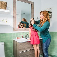 Host of DIY Mom, Rebekah Higgs' jadeite bathroom channels boho bliss