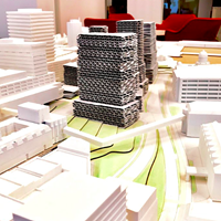A scale model of possible building developments inside the new Cogswell district—for ants!