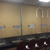 Empty podiums at the last Tory leadership debate earlier this month. Jennifer Searle is a PhD student and registered nurse who practices within the mental healthcare system and Dalhousie School of Nursing as a clinical educator.